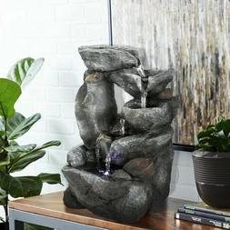 """11-4/5"""" 5-Tier Rockery Indoor Water Feature with LED for H"""