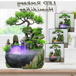 110V Atomizing Waterfall Rockery Desktop Fountain LED Color