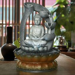 11in Buddha Tabletop Water Fountain for Home&Office Decorati