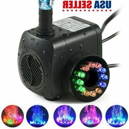 15W Water Fountain Pump with 12LED Light Silent Small Submer