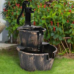 2 Tier Barrel Waterfall Fountain Barrel Water Fountain Pump