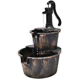 2-Tier Barrel Waterfall Fountain Barrel Water Fountain Pump