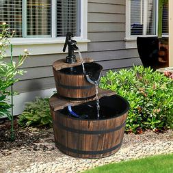 2 Tier Fountain Rustic Wood Barrel Water Fountain w/Pump Out