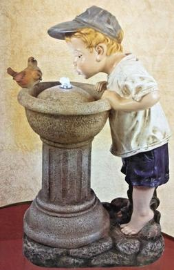 """Alpine Corporation 27"""" Boy Drinking out of water fountain wi"""
