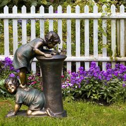 27 in. Tall Water Fountain Indoor/Outdoor Girl and Boy Drink