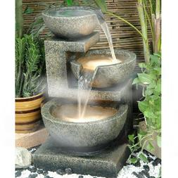 """3 Bowls 24"""" Indoor Fountain Water Feature Ornament Home Deco"""