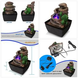 SereneLife 3-Tier Desktop Electric Water Fountain Decor w/ L