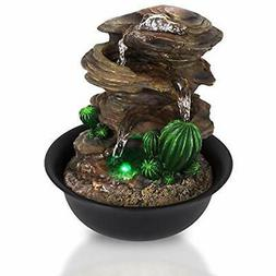 3-Tier Tabletop Fountains Desktop Electric Water Decor W/ LE
