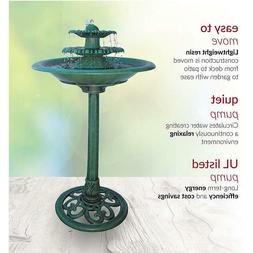 3-Tiered Vintage Pedestal Water Fountain and Bird Bath Perfe