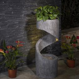 """Glitzhome 31.30""""H Art Curving LED Light Outdoor Water Founta"""