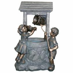"""35"""" LED Lighted Bronzed Kids Playing at Wishing Well Spring"""