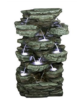 39 Tiered Rock Rainforest Fountain with White LED Lights
