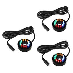 3Pcs Fountain Ring Lights 12 LEDs Auto Colored Changing Subm