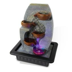SereneLife 4-Tier Desktop Electric Water Fountain Decor w/LE