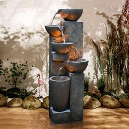 "40"" Water Fall 5-Tier Water Fountain with LED Lights and Pum"