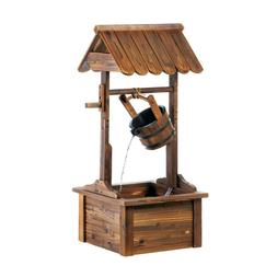 44-Inch Garden Rustic Wood Wishing Well Water Fountain with