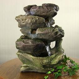 Sunnydaze 5-Step Rock Falls Tabletop Fountain with LED Light