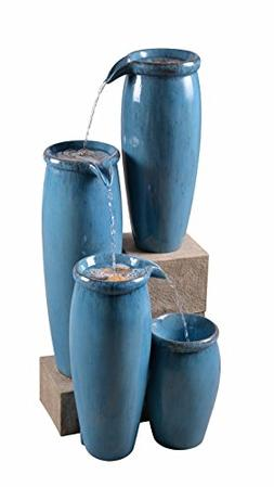 Kenroy Home 51029BLU Vessel Floor Fountain, Blue