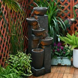 5Tier Water Fountain with LED Lights Stacked Rocks Waterfall