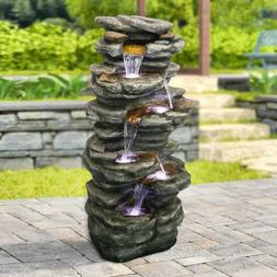 "6-Tiers Rocks Outdoor Water Fountain - 40"" High Cascading"