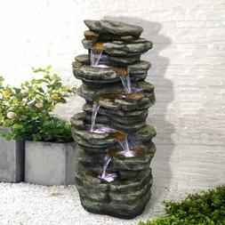 """6-Tiers Soothing Rocks Outdoor Water Fountain 40"""" Cascadin"""
