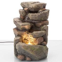 Bits and Pieces - 11.25 Inch Indoor Tiered Rock Fountain wit