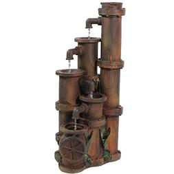 "Northlight - 23.5"" Rusted Cascading Pipes Outdoor Patio Gard"