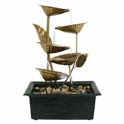 Sunnydaze Cascading Five Leaves Tabletop Fountain with LED L