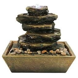 Sunnydaze Cascading Rocks Tabletop Water Fountain with LED L