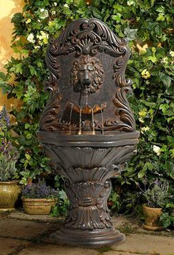 Acanthus Antiqued Lion Outdoor Wall Water Fountain w/ Light