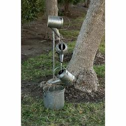 Alpine Metal Tiered 4 Water Can Fountain, 44 Inch Tall