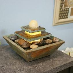 Sunnydaze Ascending Slate Tabletop Water Fountain with LED L