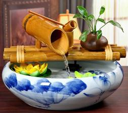 Bamboo Water Fountain Water Feature Flowing Indoor Outdoor G