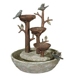 "Grasslands Road Bird Nest Cement Fountain, 12""/Medium, Multi"