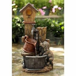 Jeco Birdhouse and Dog Indoor/Outdoor Fountain