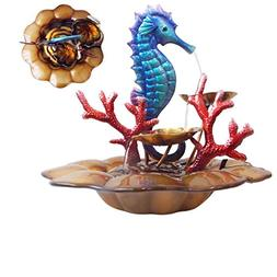 """Comfy Hour 13"""" Blue Metal Art Under The Sea Seahorse with Oc"""