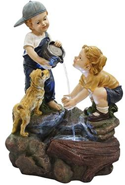 Alpine Boy Washing Girls Hands Fountain w/LED Light, 28 Inch