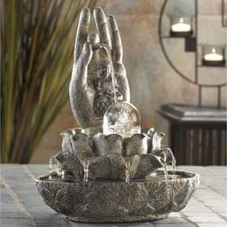 Buddha Hand Water Fountain Indoor Tabletop Decor Cascading F