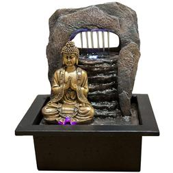Buddha Indoor Table Top Fountain Water Feature with Colour C