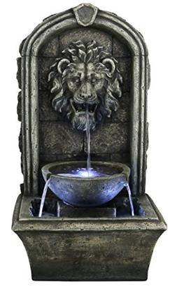 """The Cair Paravel - 32"""" Floor/Wall Fountain w/LED Lights: Ind"""