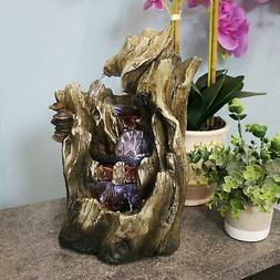 Cascading Caves Waterfall Tabletop Fountain w/ LED Lights by