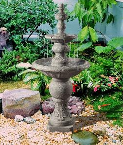 Outdoor Tiered Fountain Cascading Water Large Stone Tall 52