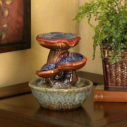 Ceramic Tabletop Water Fountain 3 Tier Cascading Garden Fore