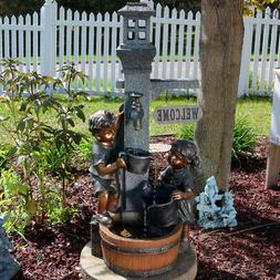 Sunnydaze Children Playing with Water Faucet Fountain with L