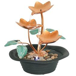 Sunnydaze Copper Blossom Cascading Tabletop Fountain with LE
