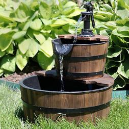 Sunnydaze Country 2-Tier Wood Barrel Water Fountain with Han