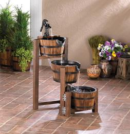 country wood Whiskey Wine 3 tier Barrel Outdoor Patio pond p