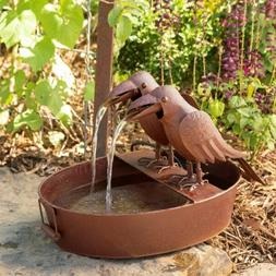 Crow Fountain in Farm Tub-Spitter w/Pump/patio-indoor-outdoo