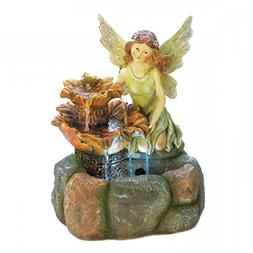 "20"" High Cute Angel Statue Garden Water Fountain Outdoor Dec"