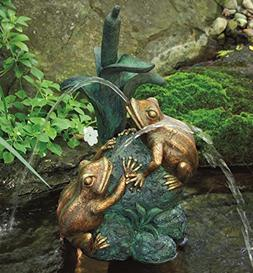 Aquascape Double Frog with Cattail Spitter Fountain with Pum